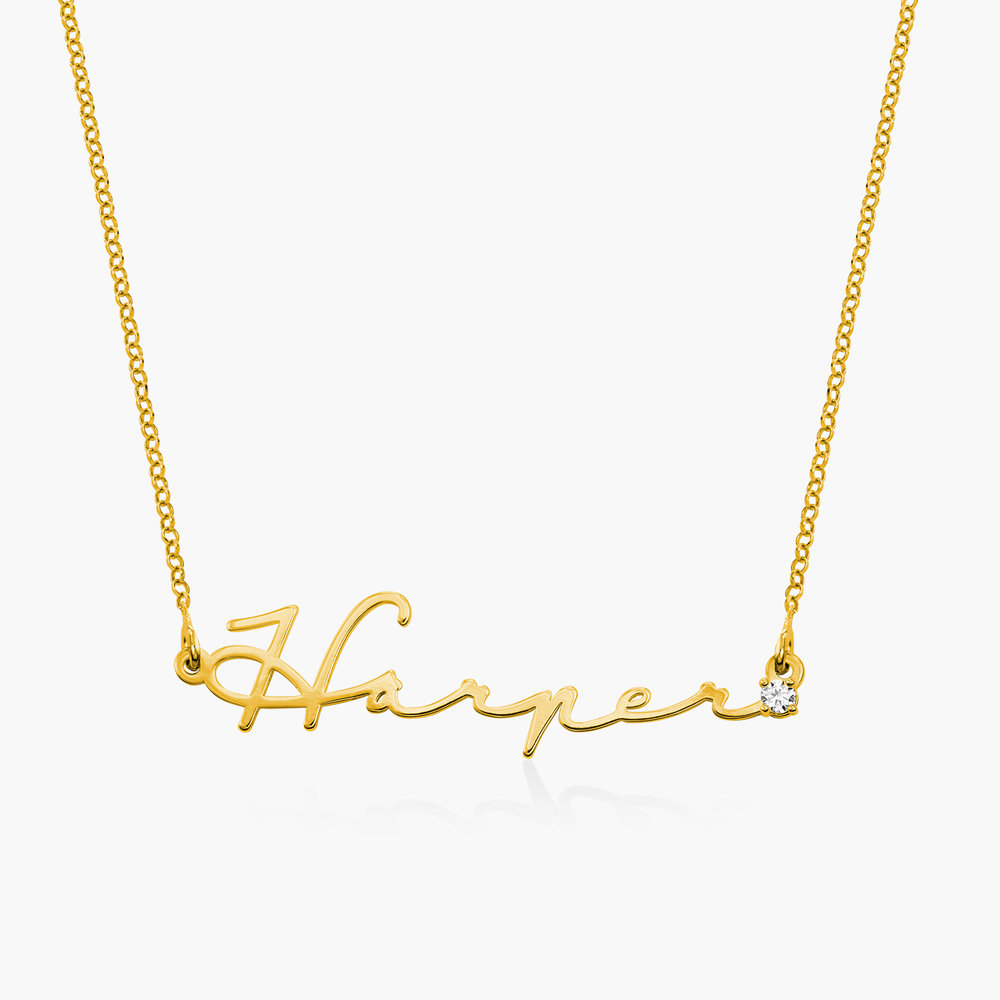 Mon Petit Name Necklace with Diamond - Gold Vermeil
