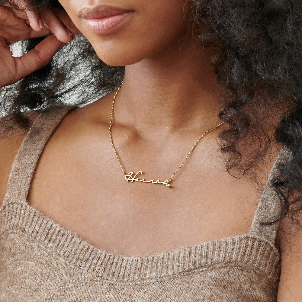 Mon Petit Name Necklace with Diamond - Gold Vermeil - 2