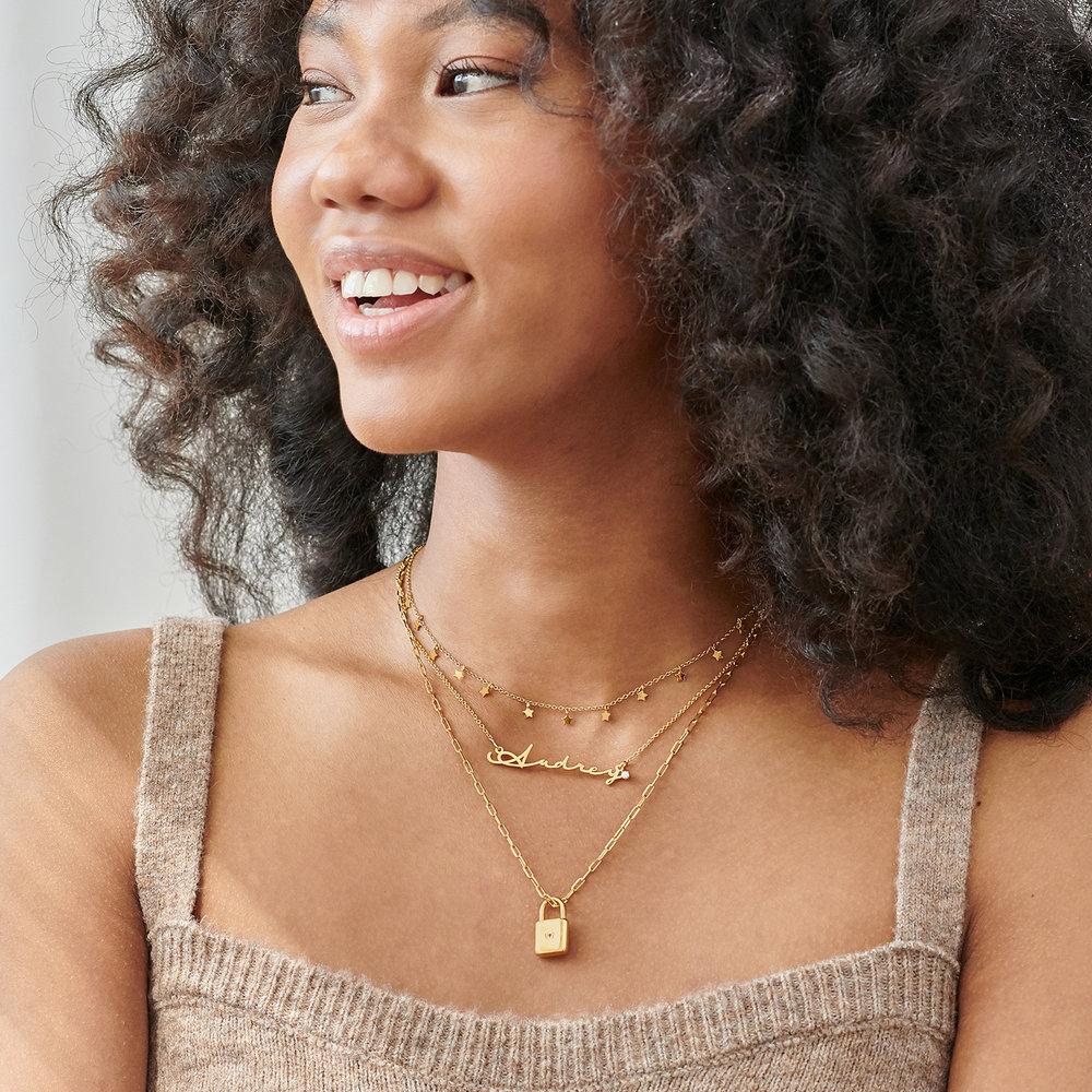 Mon Petit Name Necklace with Diamond - Gold Vermeil - 3