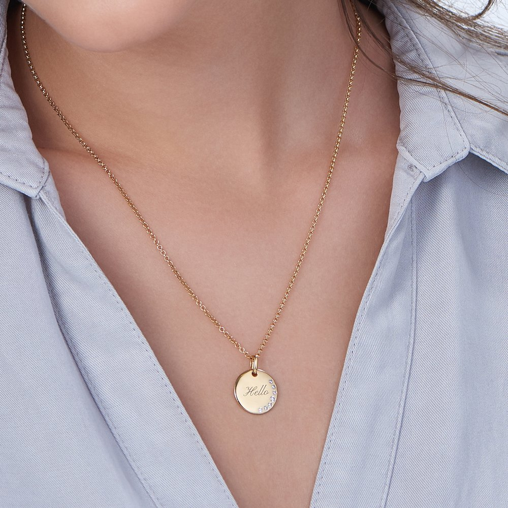 Luna Round Necklace with Cubic Zirconia - Gold Plated - 2