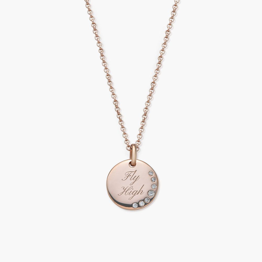 Luna Round Necklace with Cubic Zirconia - Rose Gold Plated