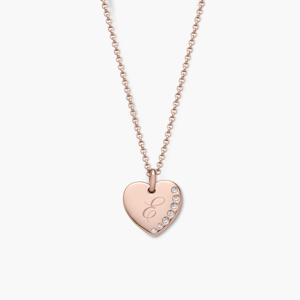 Luna Heart Necklace with Cubic Zirconia - Rose Gold Plated