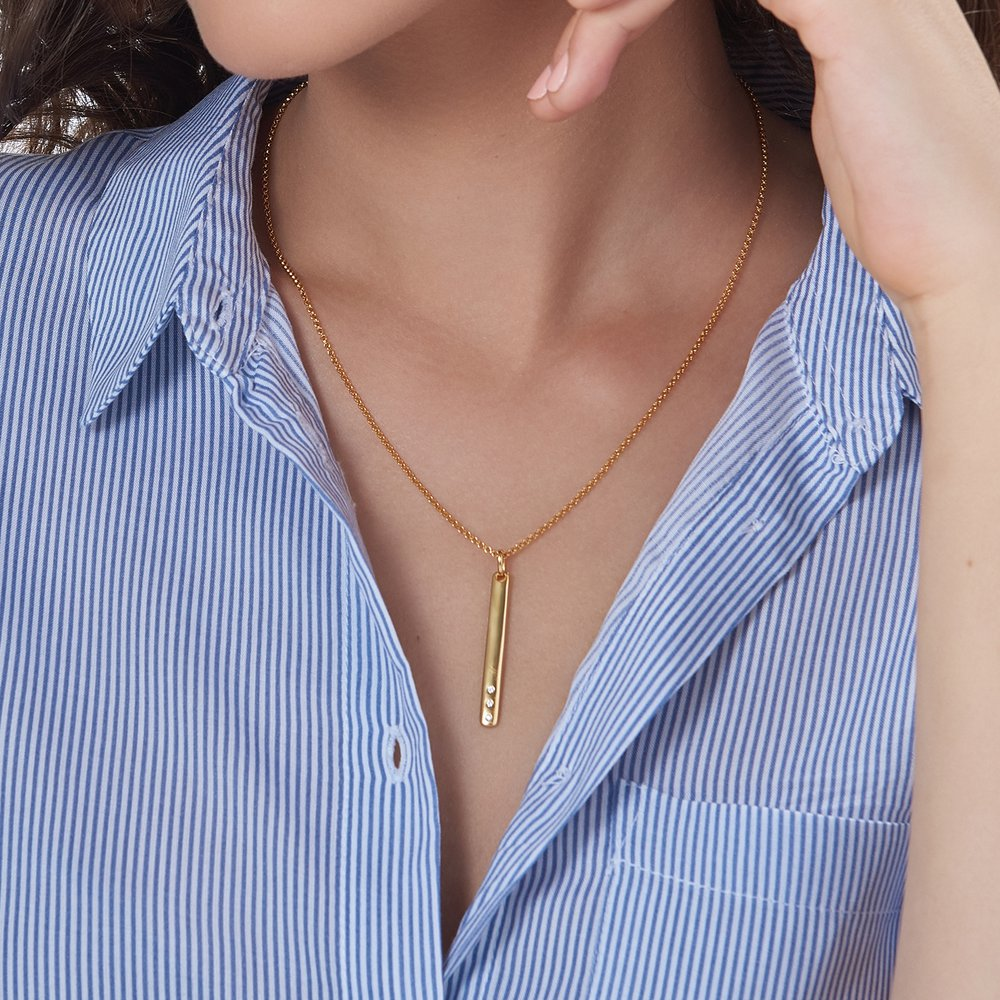 Luna Bar Necklace with Cubic Zirconia - Gold Plated - 2