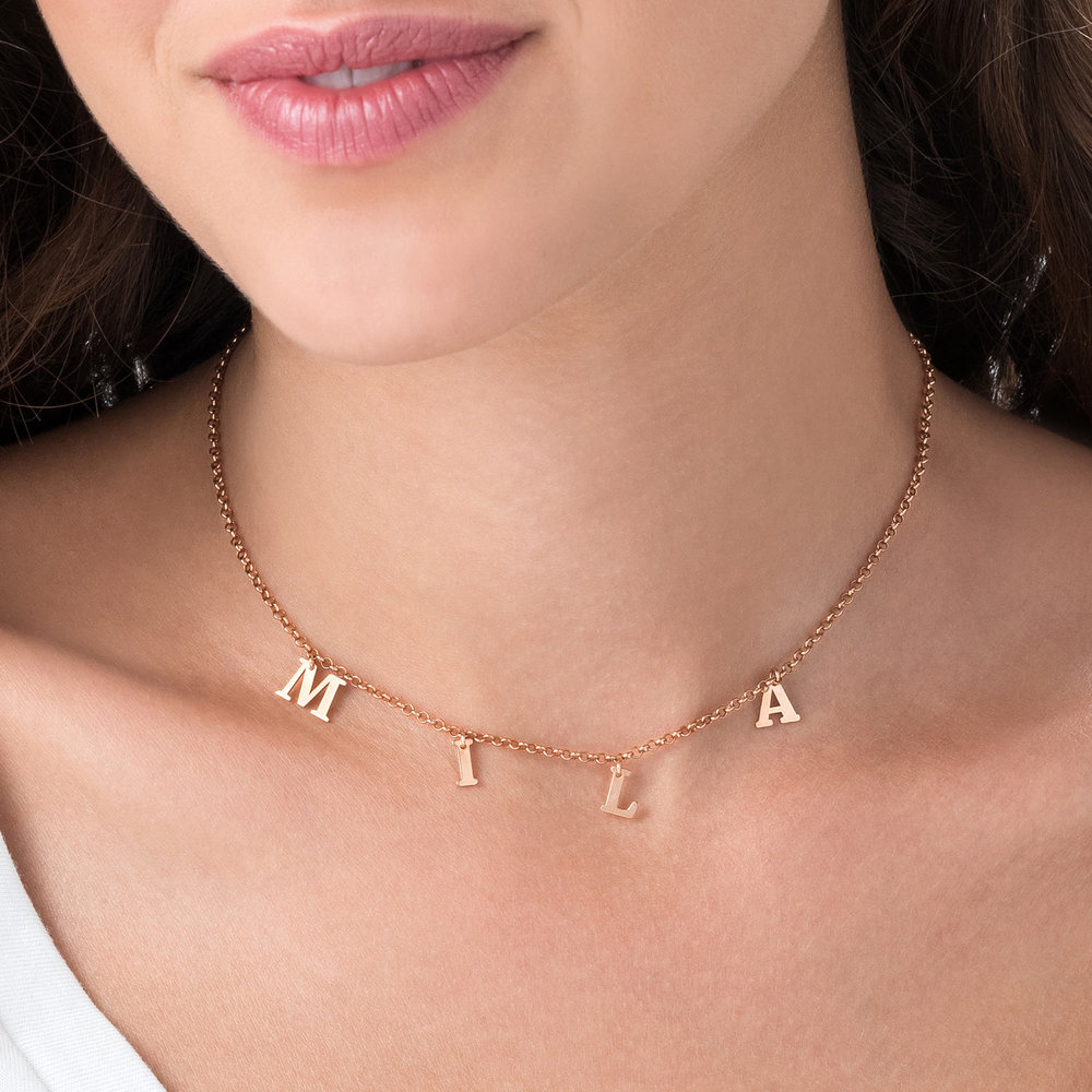 A to Z Name Choker - Rose Gold Plated - 4