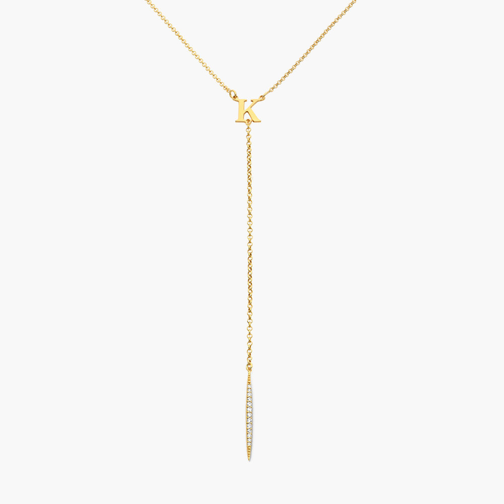 Initial Drop Necklace With Cubic Zirconia  - Gold Plated