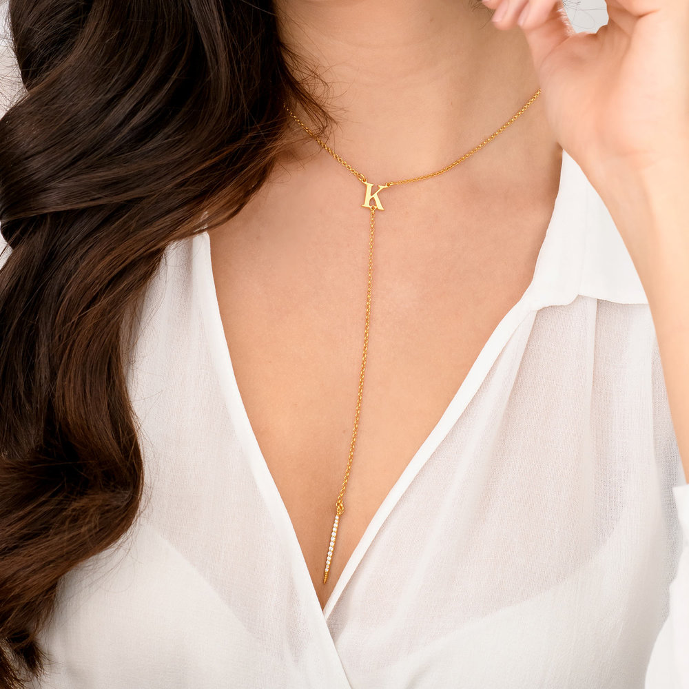 Initial Drop Necklace With Cubic Zirconia  - Gold Plated - 3