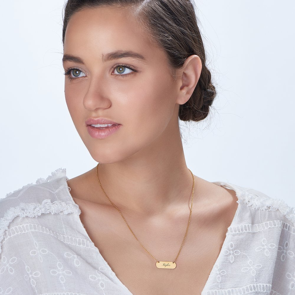 Rounded  Bar Necklace - Gold Plated - 1