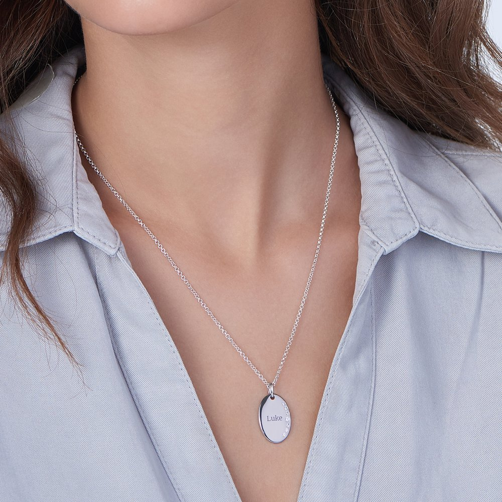 Luna Oval Necklace with Cubic Zirconia - Silver - 2