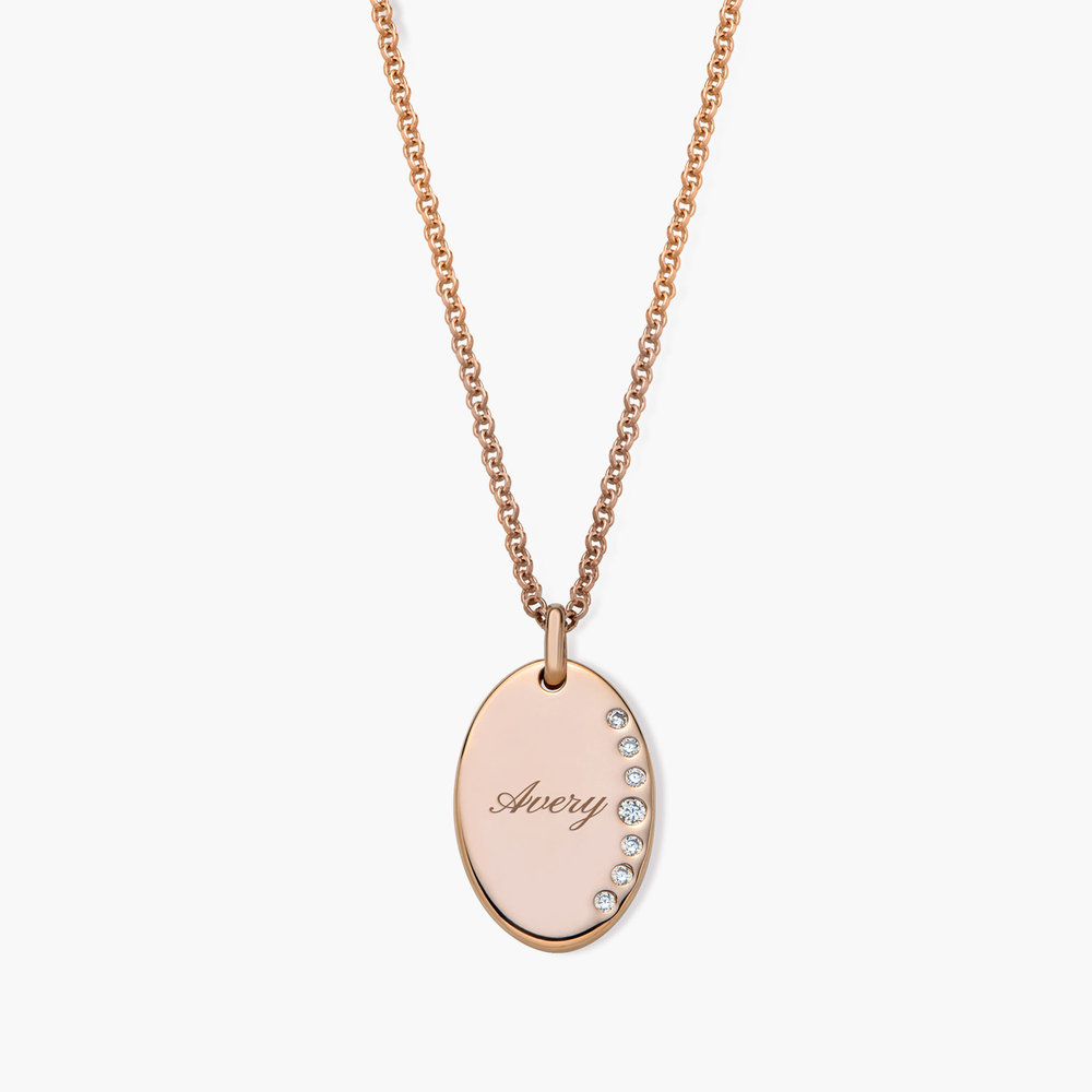 Luna Oval Necklace with Cubic Zirconia - Rose Gold Plated