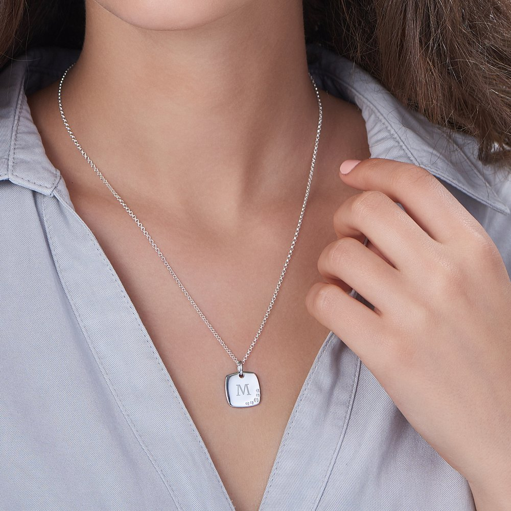 Luna Square Necklace with Cubic Zirconia - Silver - 2