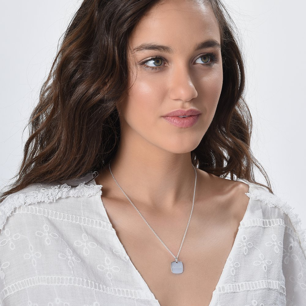Luna Square Necklace - Silver - 1
