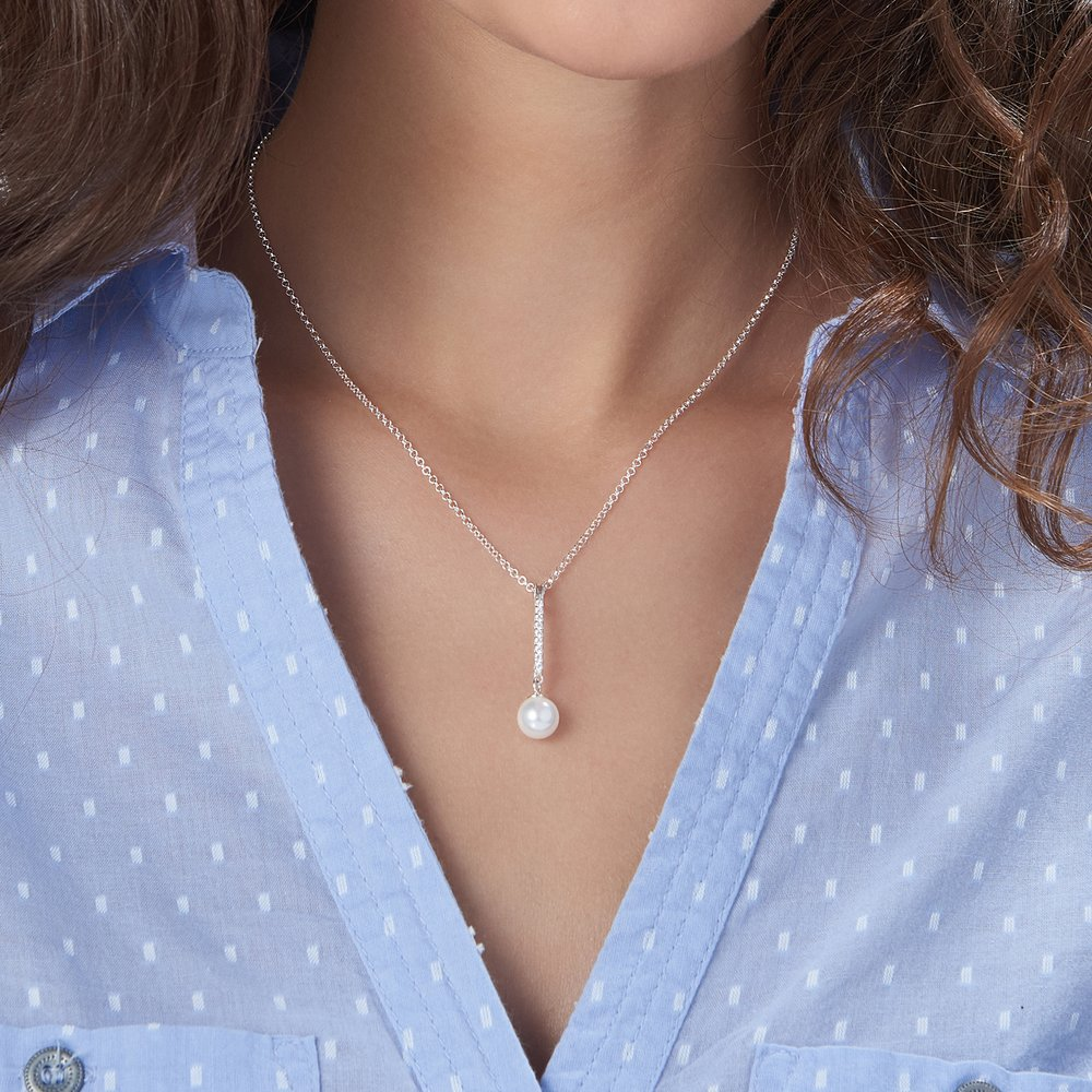 Pearl Drop Necklace - Silver - 2