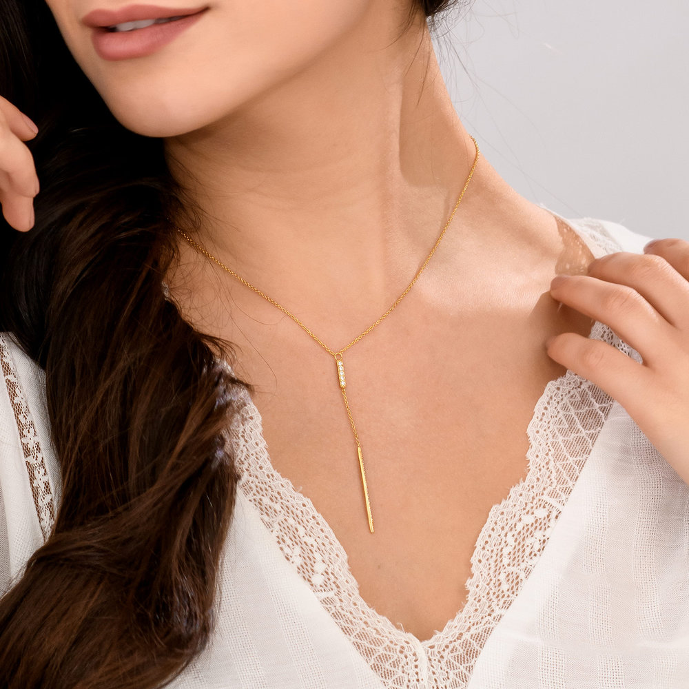 Elle Necklace with Cubic Zirconia - Gold Plated - 3