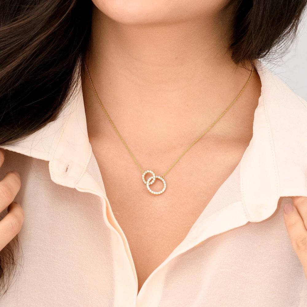 Double Eclipse Necklace - Gold Plated - 2