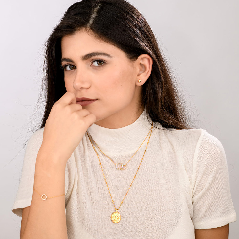 Double Eclipse Necklace - Gold Plated - 3