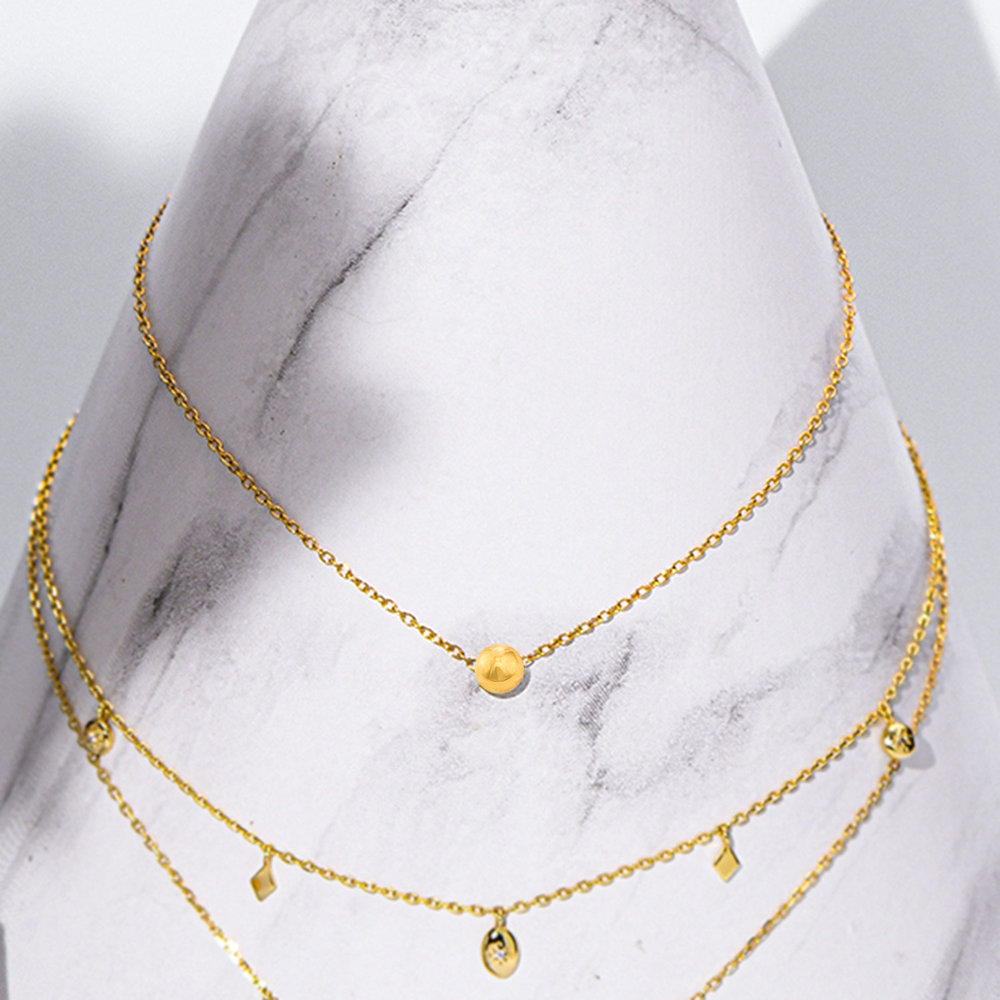Ball & Chain Necklace - Gold Plated - 1