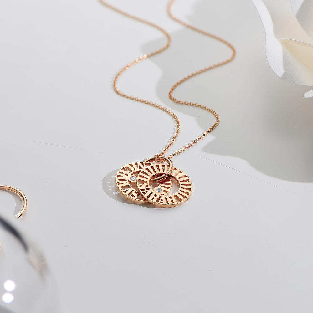 Tokens of Love Necklace with Diamond - Rose Gold Plated - 2
