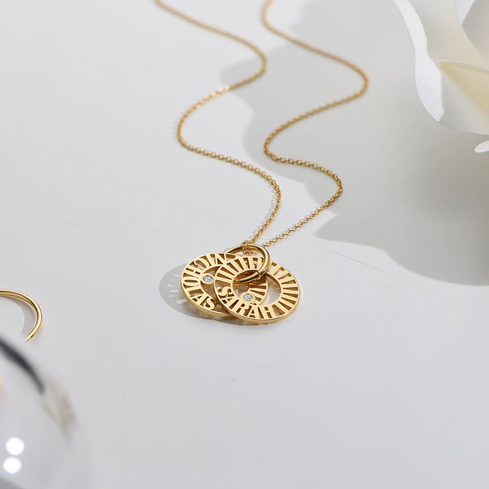 Tokens of Love Necklace with Diamond - Gold Vermeil - 1