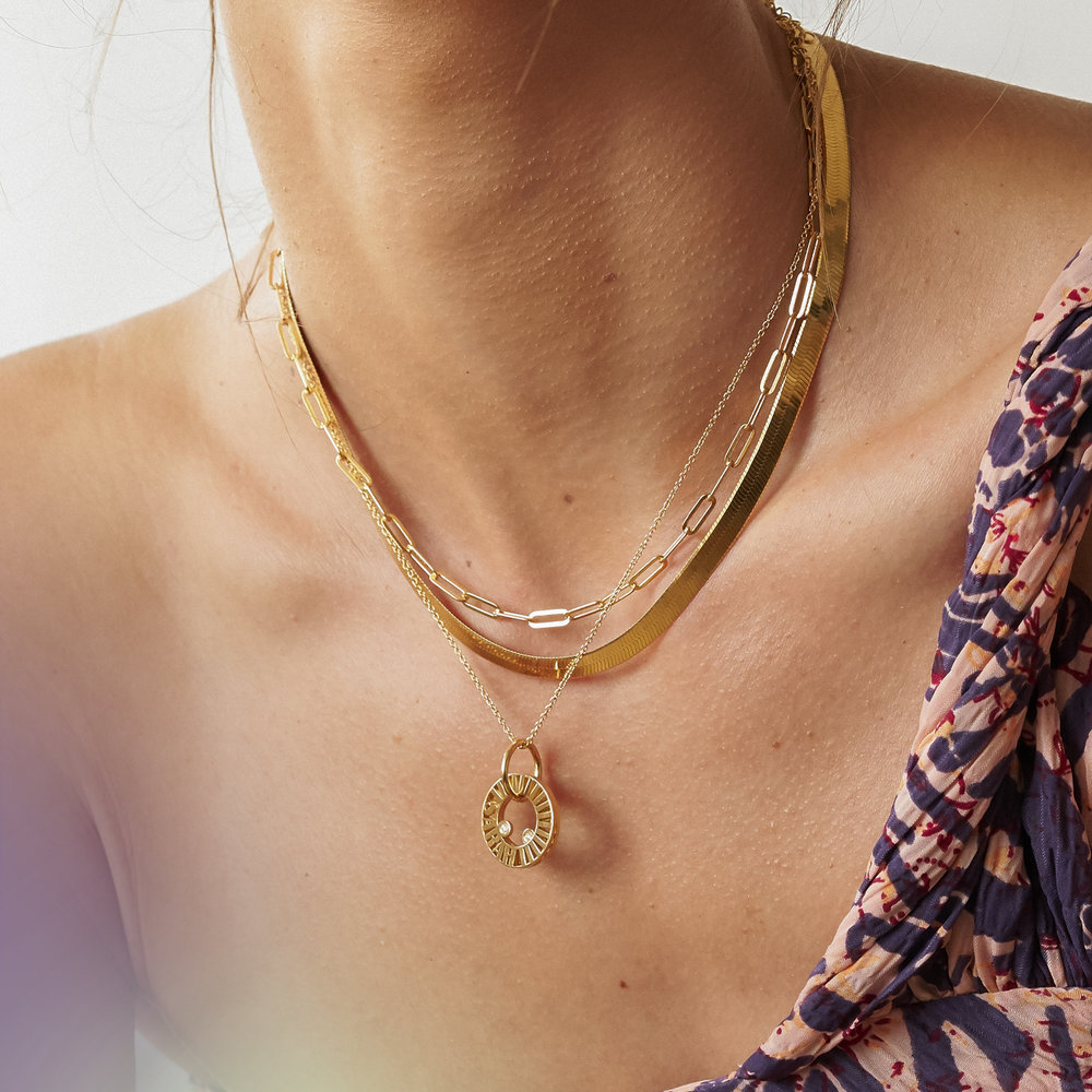 Tokens of Love Necklace with Diamond - Gold Vermeil - 3