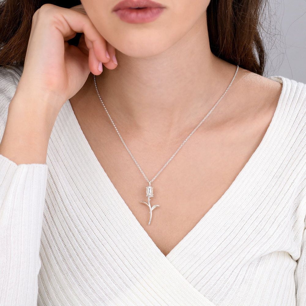 Forever Rose Necklace - Silver - 4