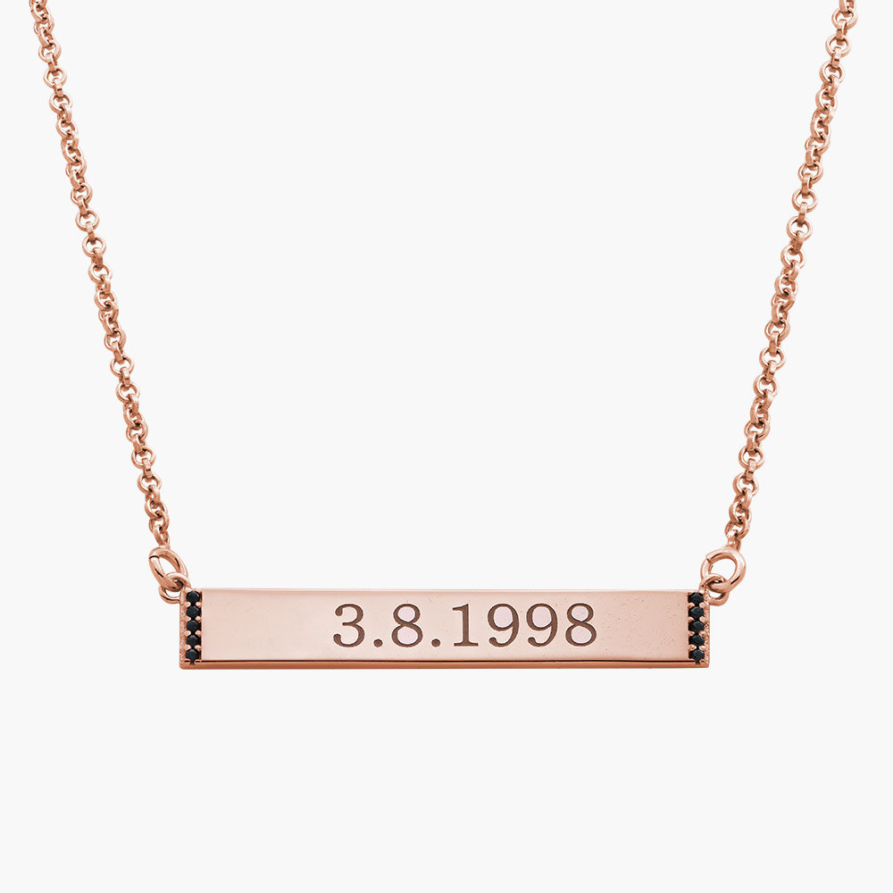 Engravable Bar Necklace with Cubic Zirconia - Rose Gold Plated