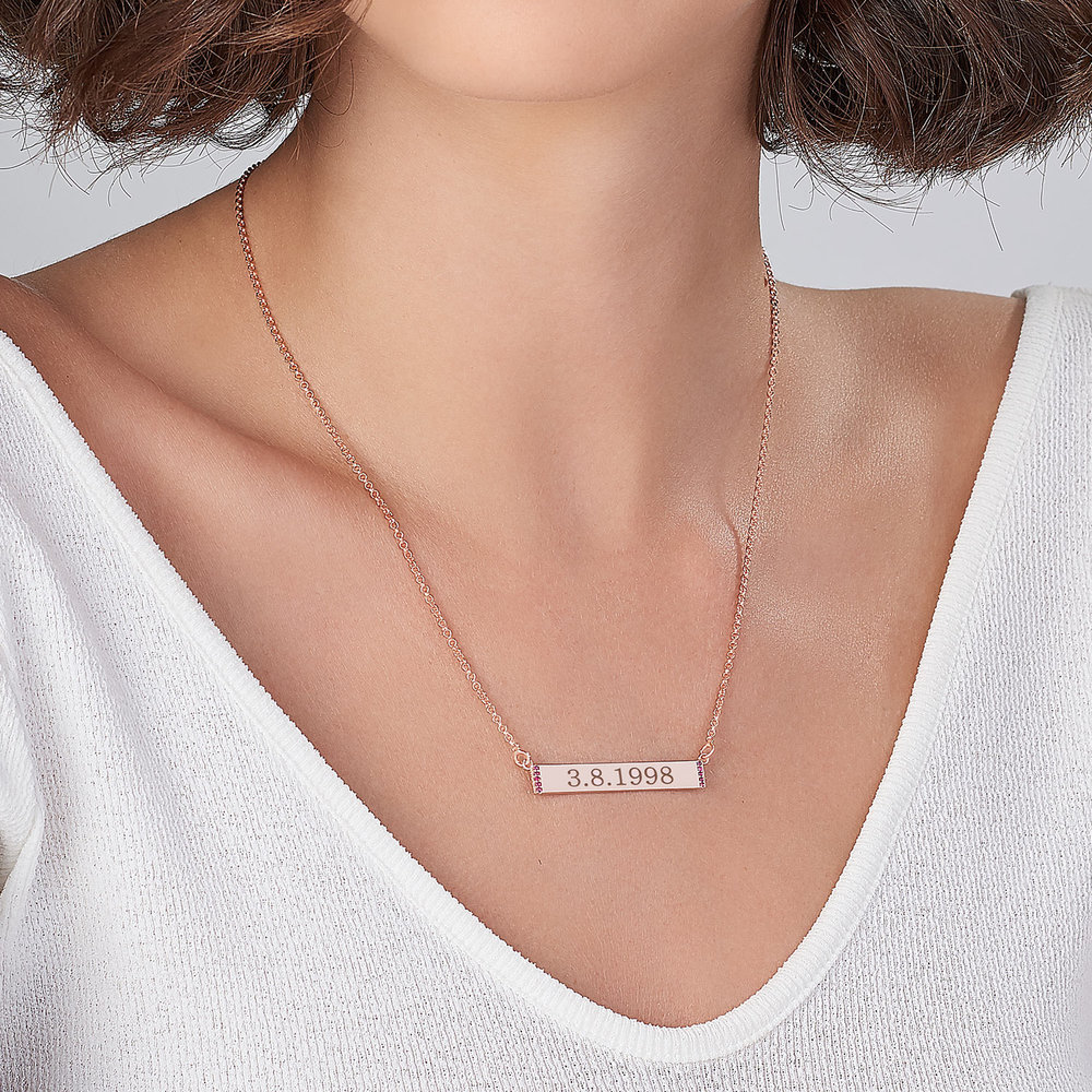 Engravable Bar Necklace with Cubic Zirconia - Rose Gold Plated - 2