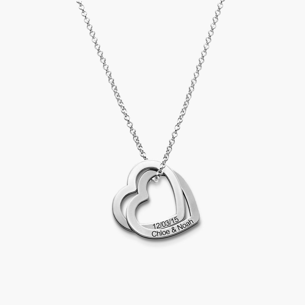 Love Locked Hearts Necklace - Silver