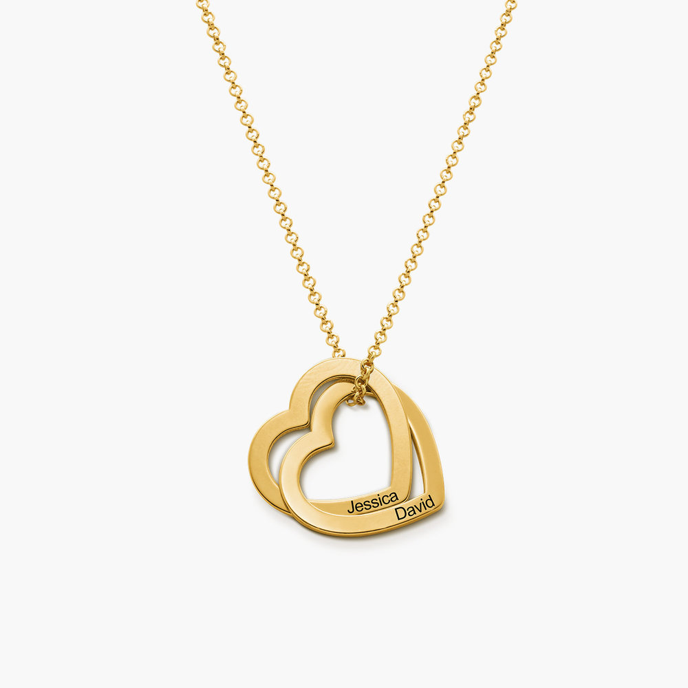 Love Locked Hearts Necklace - Gold Plated