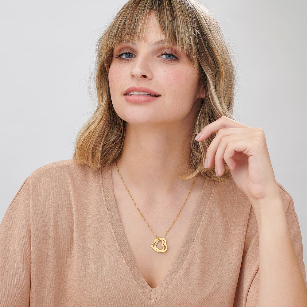 Love Locked Hearts Necklace - Gold Plated - 1