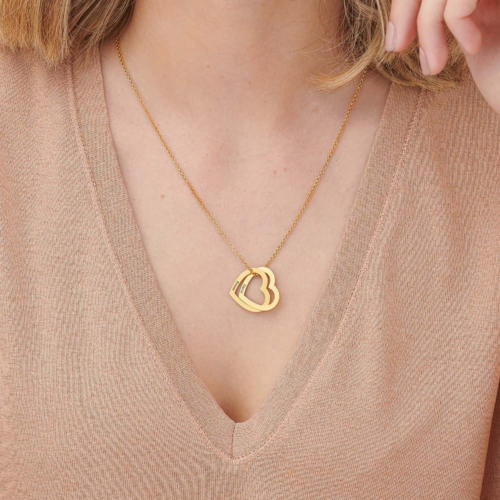 Love Locked Hearts Necklace - Gold Plated - 2