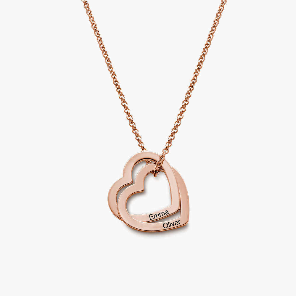 Love Locked Hearts Necklace - Rose Gold Plated