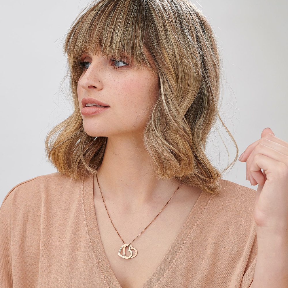 Love Locked Hearts Necklace - Rose Gold Plated - 1