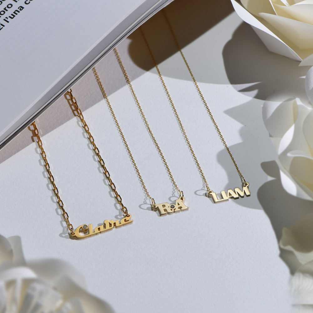 Gatsby Name Necklace - 14K Solid Gold - 3