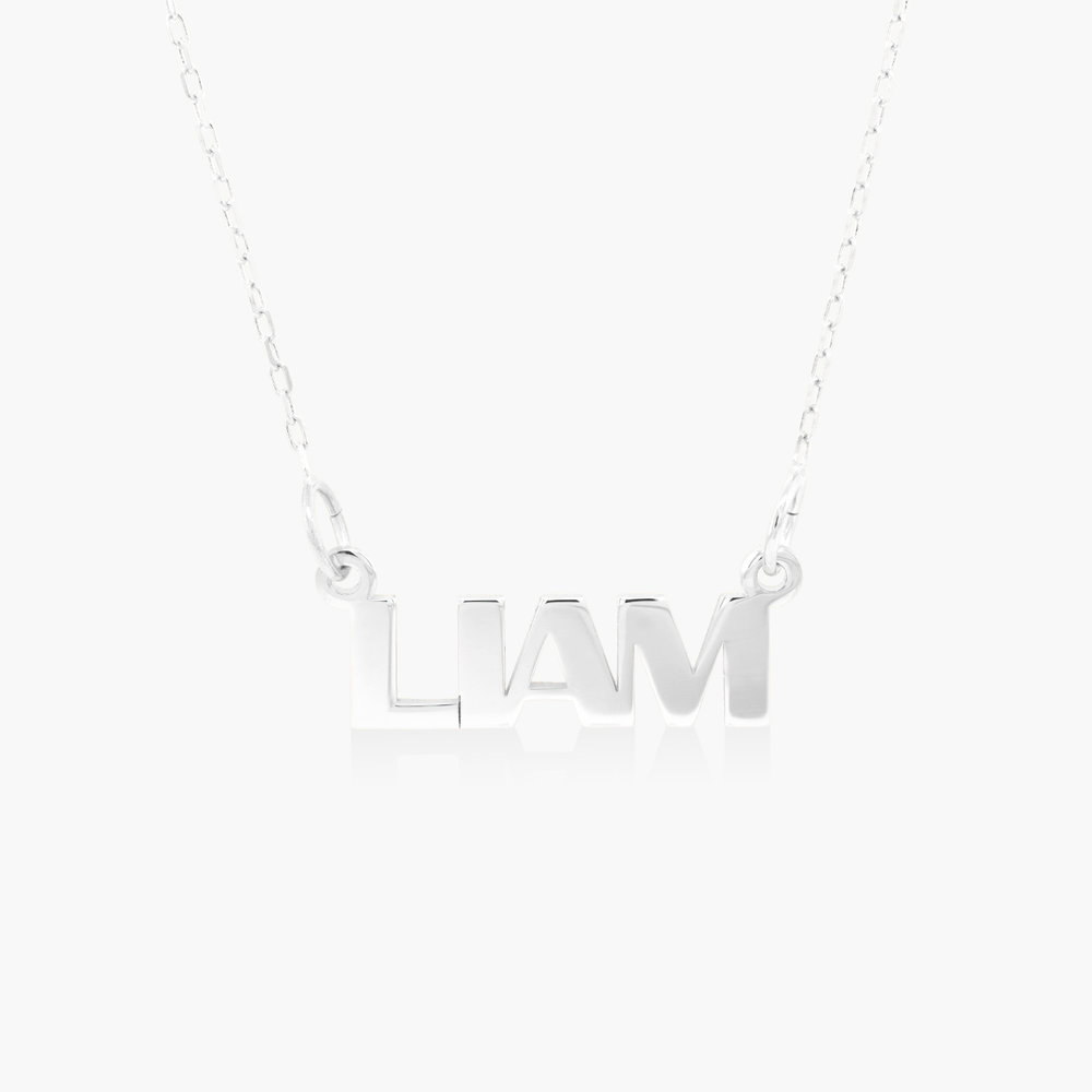 Capital Letters Name Necklace - 10K White Solid Gold