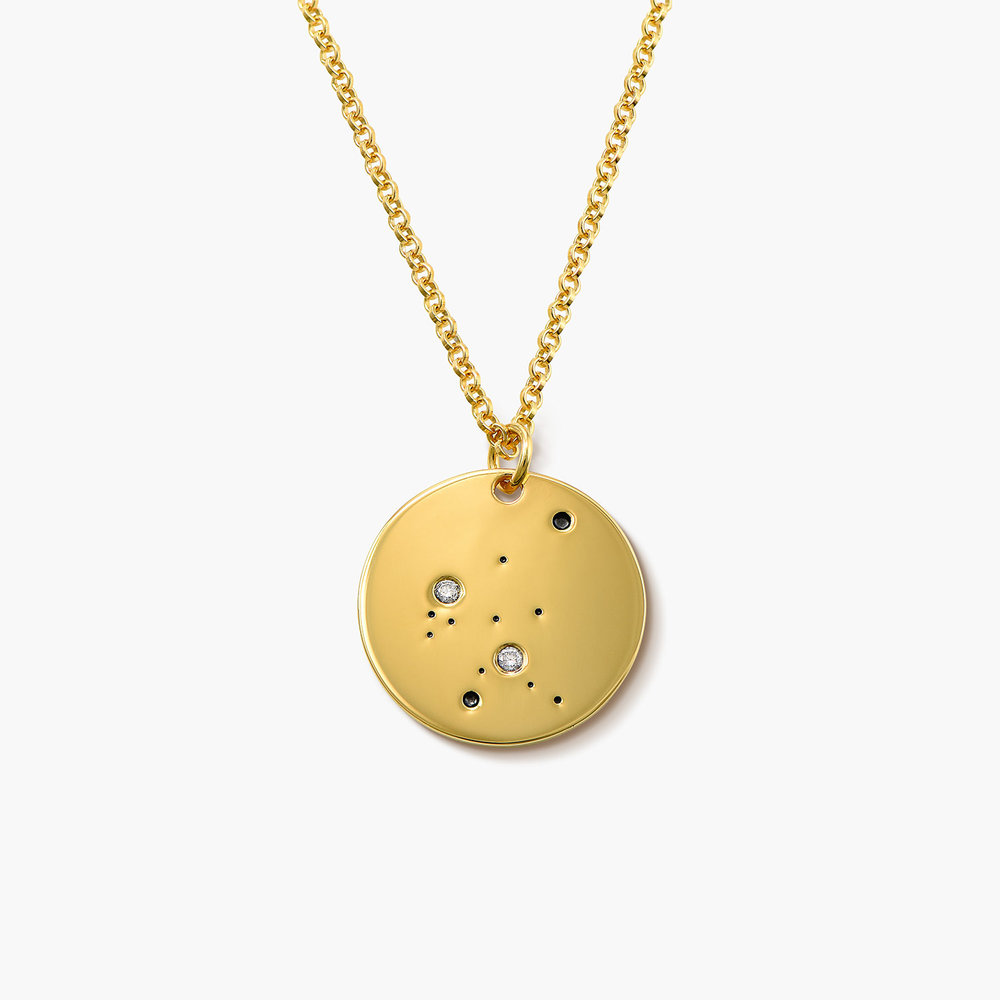 Aquarius Zodiac Necklace with Diamonds - Gold Plated