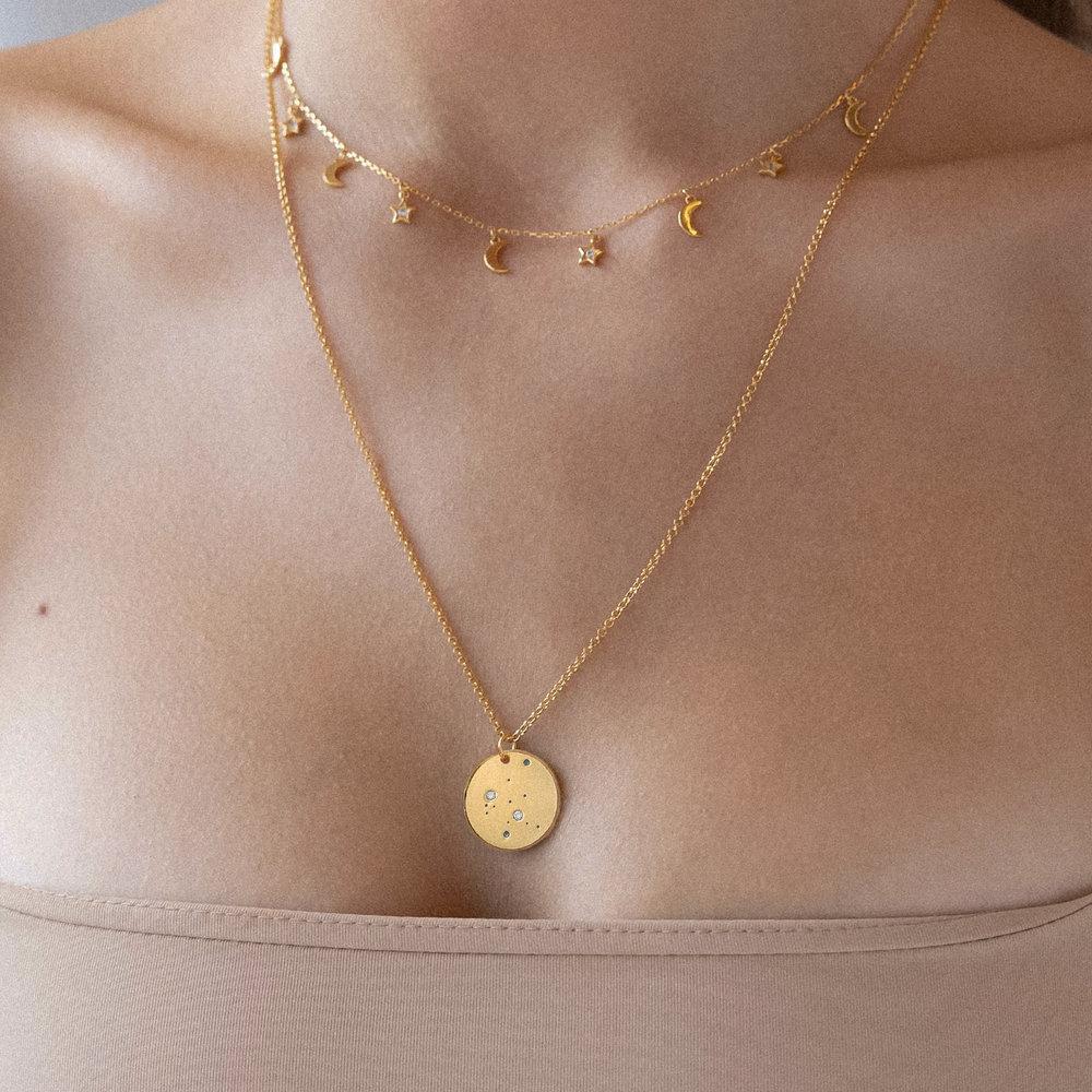 Aquarius Zodiac Necklace with Diamonds - Gold Plated - 2