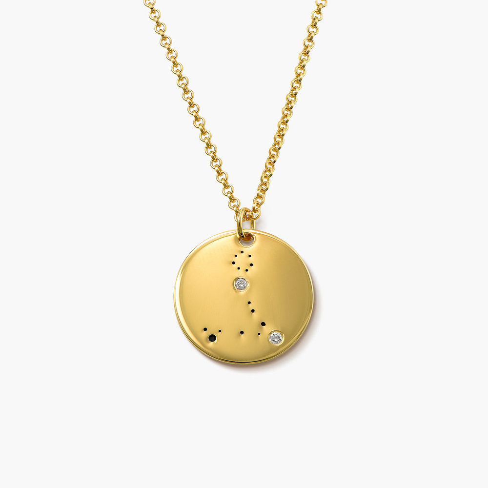 Pisces Zodiac Necklace with Diamonds - Gold Plated