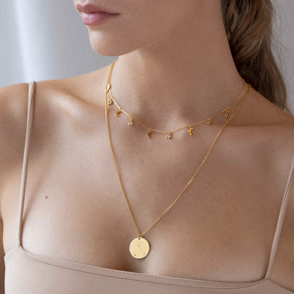 Pisces Zodiac Necklace with Diamonds - Gold Plated - 1
