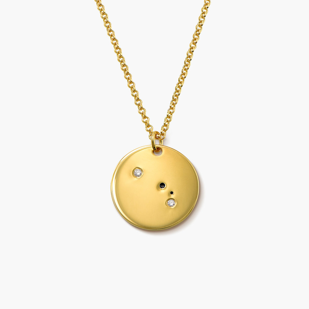 Aries Zodiac Necklace with Diamonds - Gold Plated