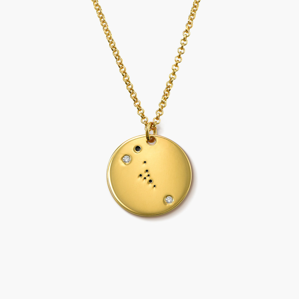 Taurus Zodiac Necklace with Diamonds - Gold Plated