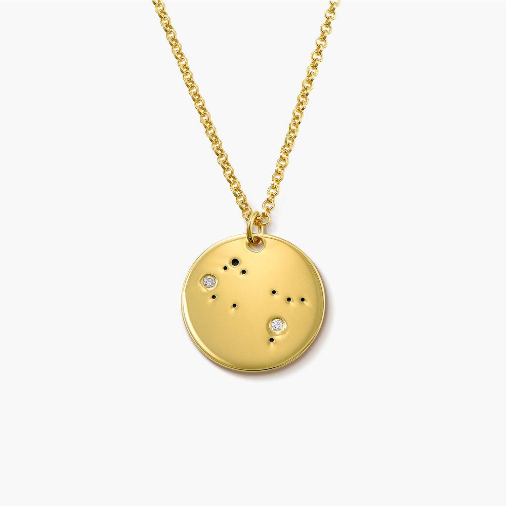 Gemini Zodiac Necklace with Diamonds - Gold Plated