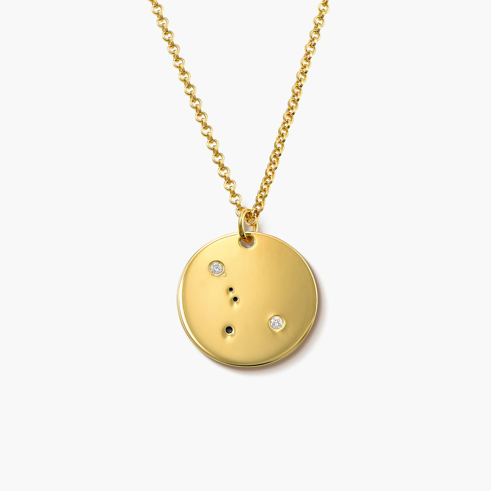 Cancer Zodiac Necklace with Diamonds - Gold Plated