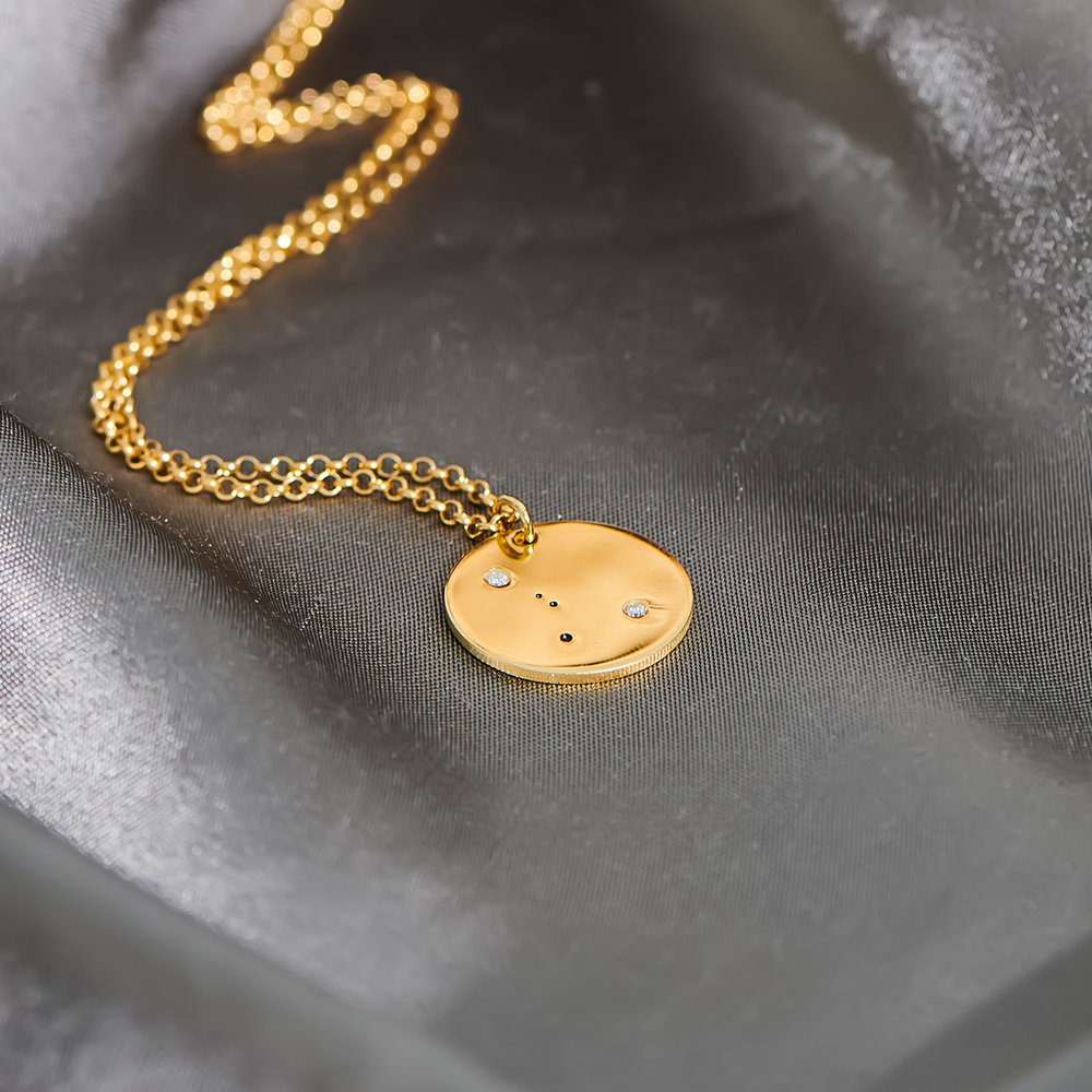 Cancer Zodiac Necklace with Diamonds - Gold Plated - 3