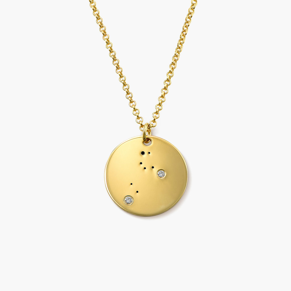 Leo Zodiac Necklace with Diamonds - Gold Plated
