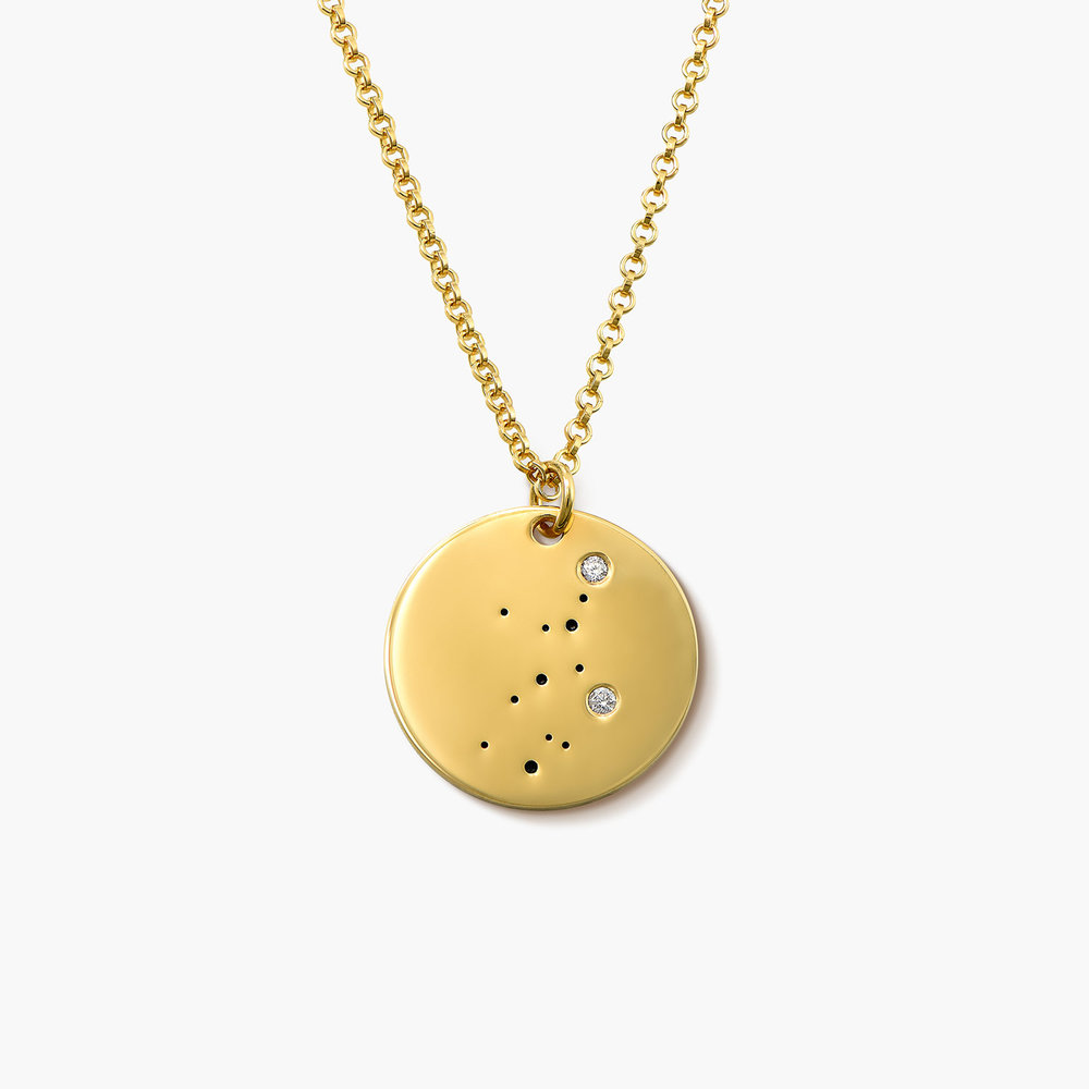 Virgo Zodiac Necklace with Diamonds - Gold Plated