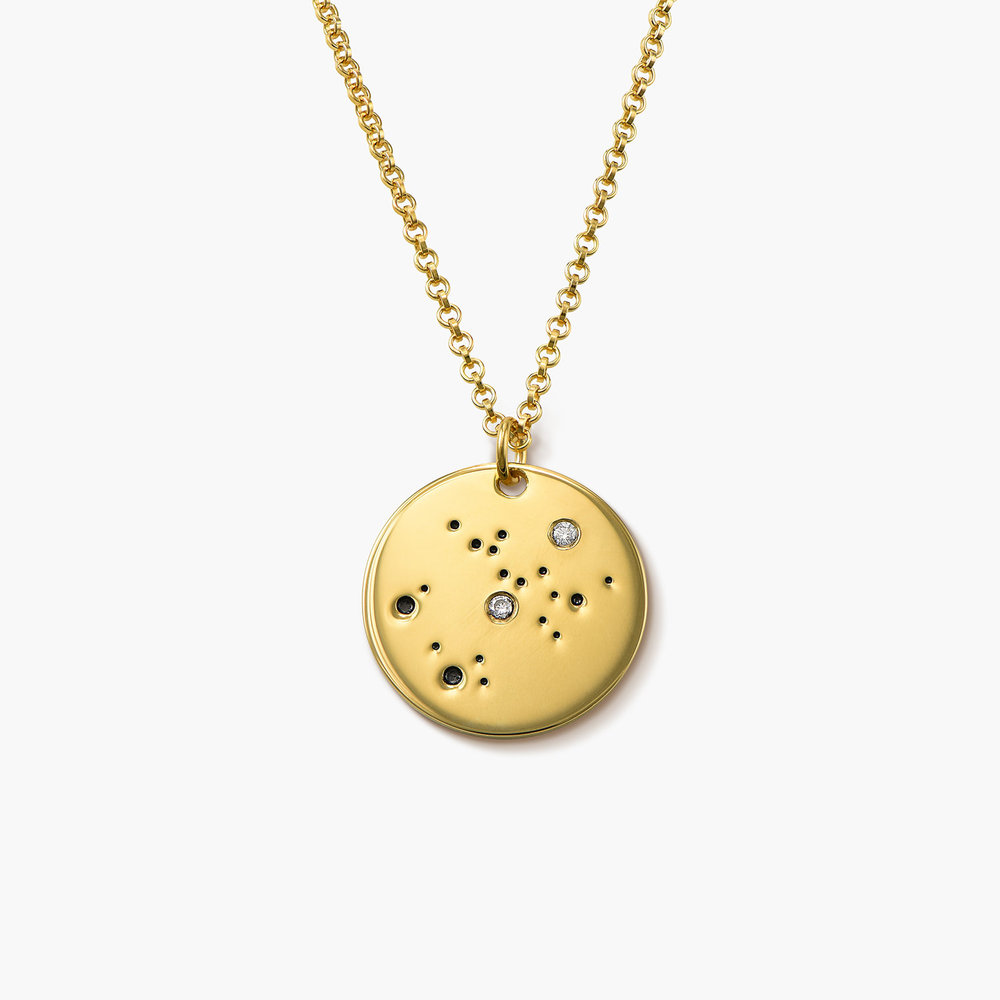 Sagittarius Zodiac Necklace with Diamonds - Gold Plated