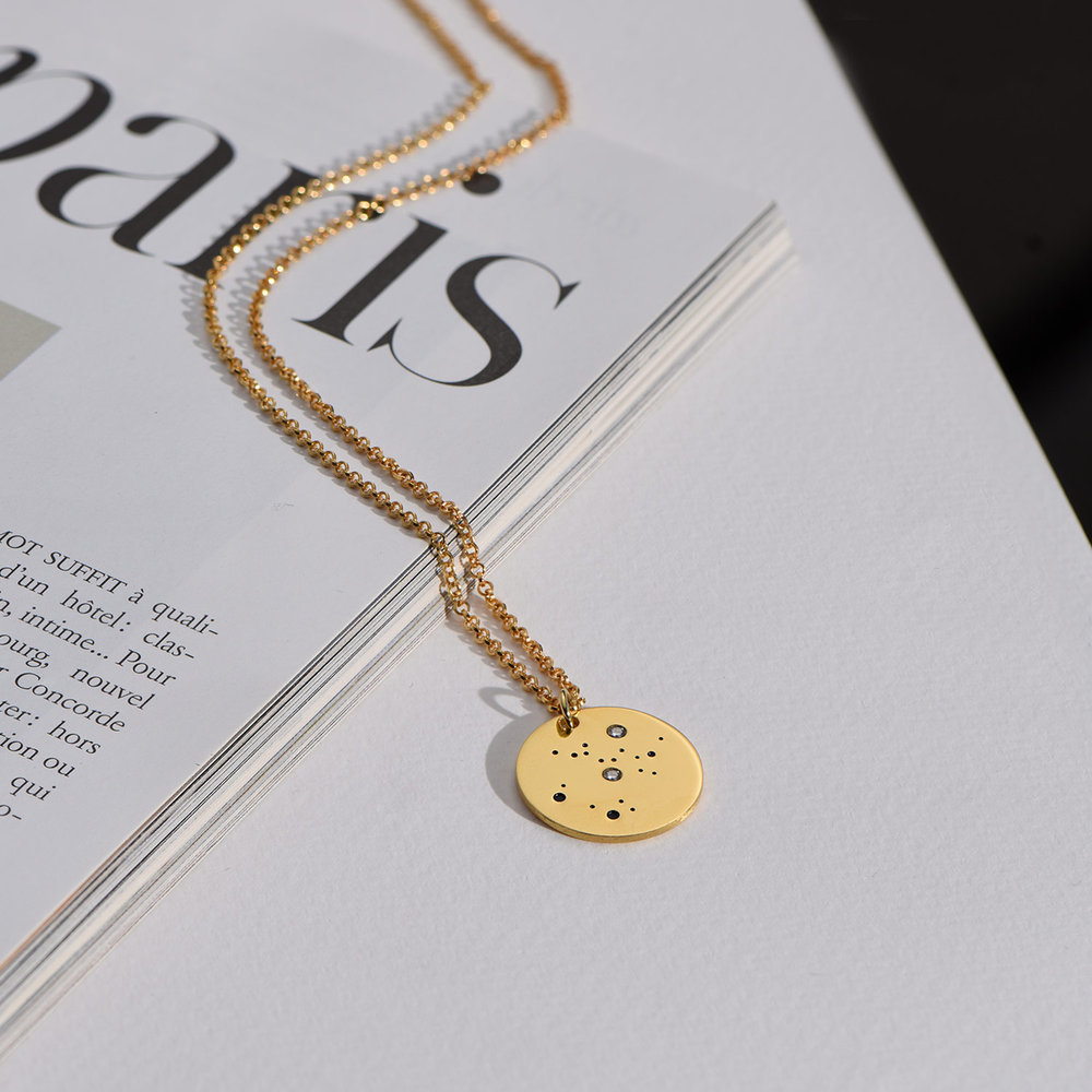 Sagittarius Zodiac Necklace with Diamonds - Gold Plated - 3