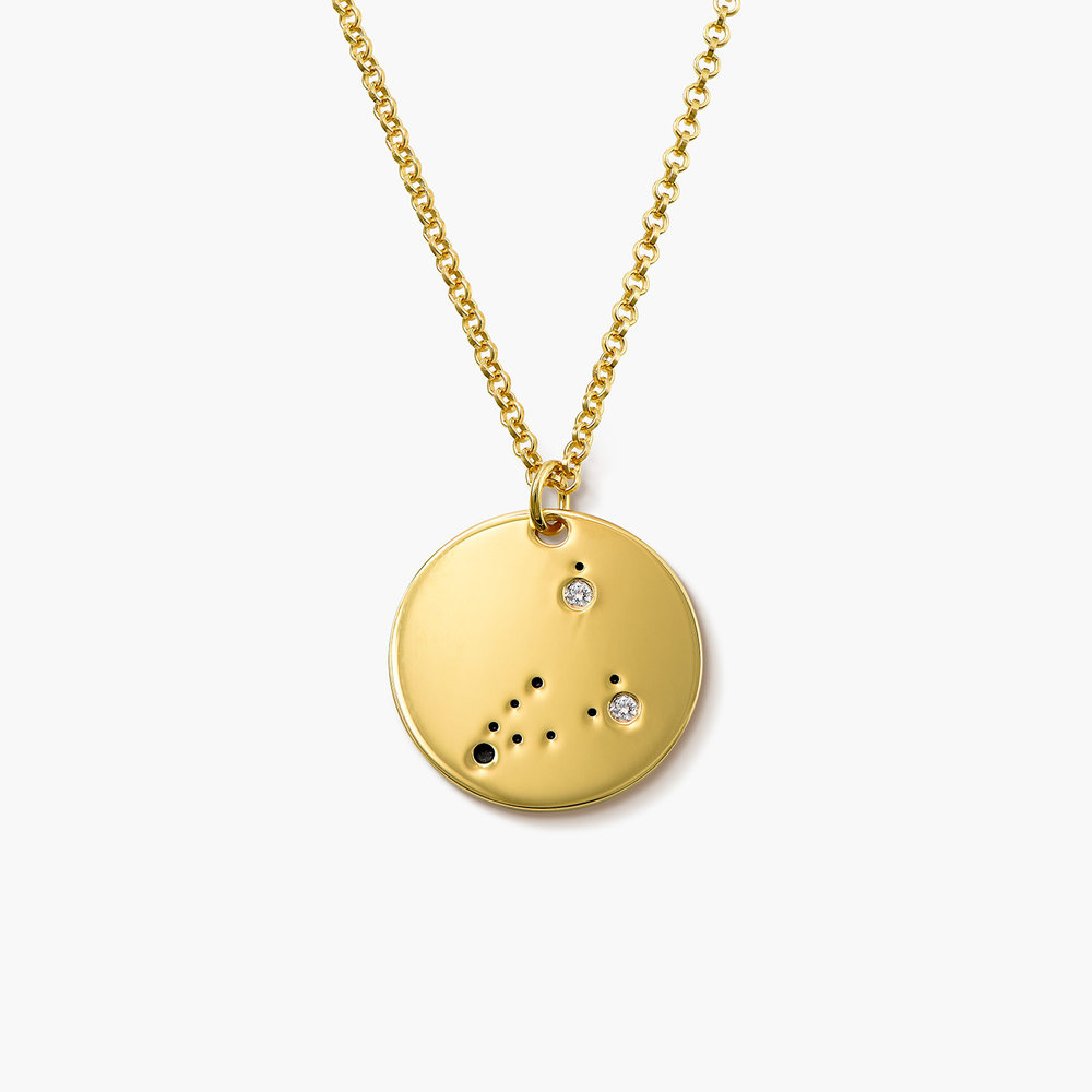 Capricorn Zodiac Necklace with Diamonds - Gold Plated
