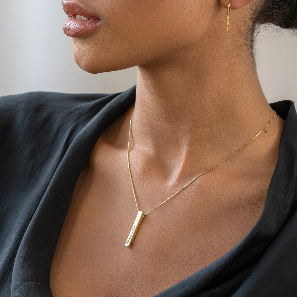 Pillar Bar Necklace - Gold Plated - 5