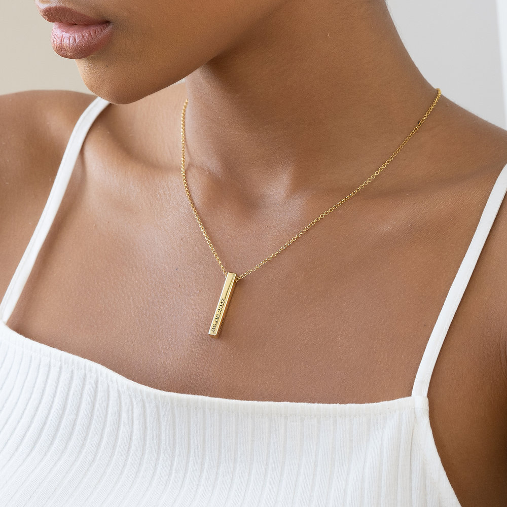 Pillar Bar Necklace with Diamond - Gold Plated - 4